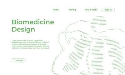 Minimalist medicine design of landing page template with dna recombinant background. Vector illustration eps 10.