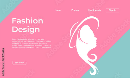 fashion design landing page template with punchy pastel colors and