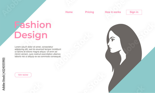 Fashion design landing page template with feminine colors and fashion design landing page template with feminine colors and silhouette girl face vector illustration eps maxwellsz