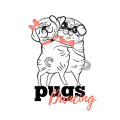 Two pug dancing the waltz.Vector illustration.