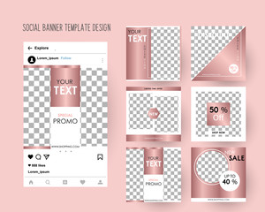 Editable Instagram Post template.  Rose Gold Banners for Digital Marketing