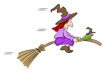 witch and her toad flying on a broom
