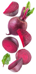 Red beet or beetroot and slices on white background.