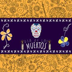 Dia de los muertos. Day of The Dead card with skull.