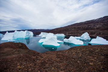 Foto op Plexiglas Arctica massive Icebergs floating in the fjord scoresby sund, east Greenland