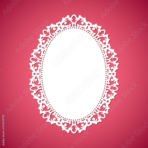 9b0625b3495c Laser cut vector abstract oval frame with swirls
