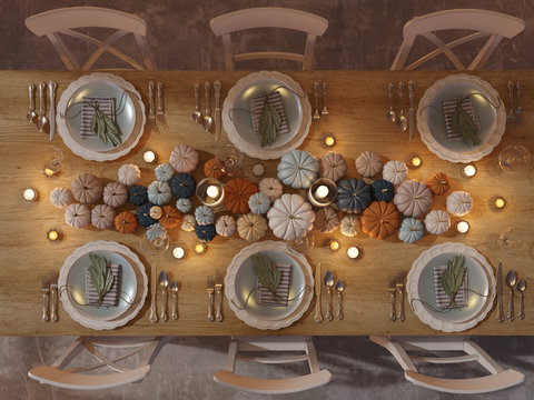3D rendering. top view of a thanksgiving table setting