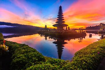 Ulun Danu temple at Beratan Lake where is the landmark of Bali in Indonesia