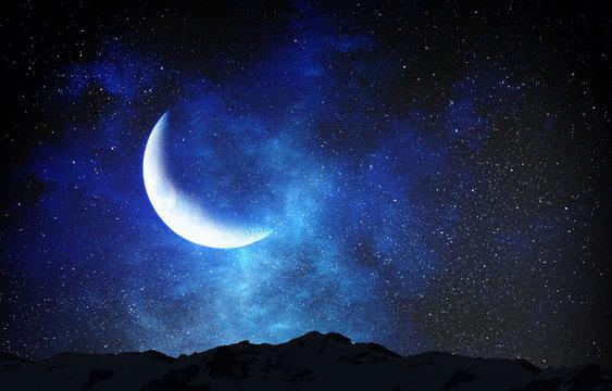 Romantic moon in sky