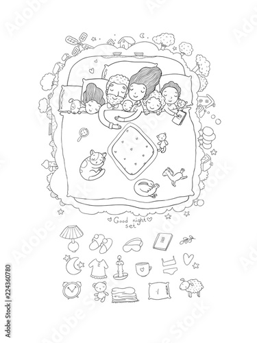 f20691891f The family sleeps in bed. Cartoon mom
