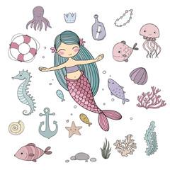 Marine illustrations set. Little cute cartoon mermaid