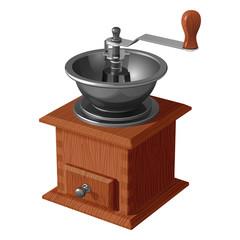 Винтажная деревянная кофемолка с открытой чашей, изолированная на белом фоне