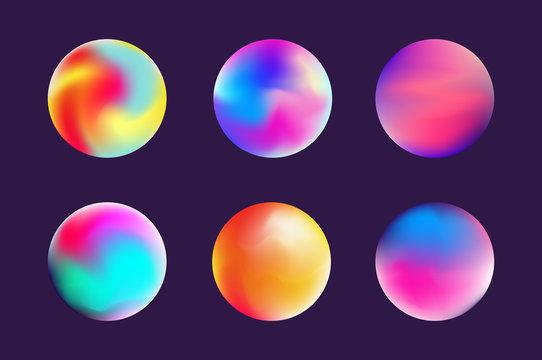 Set gradient colorful sphere in trendy style