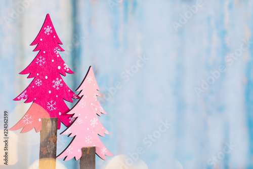 Christmas Background With Pink Trees And Lights