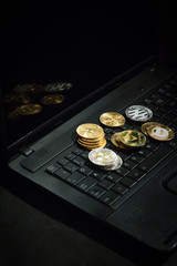 Laptop with cryptocurrencies