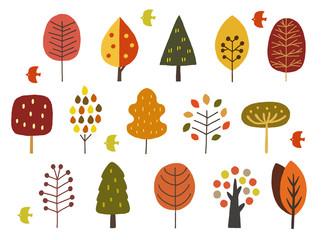 北欧の木手描き秋
