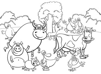 black and white cartoon farm animal characters group