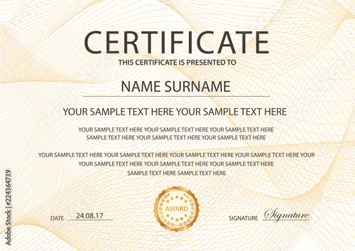 Certificate template with Guilloche pattern, frame border