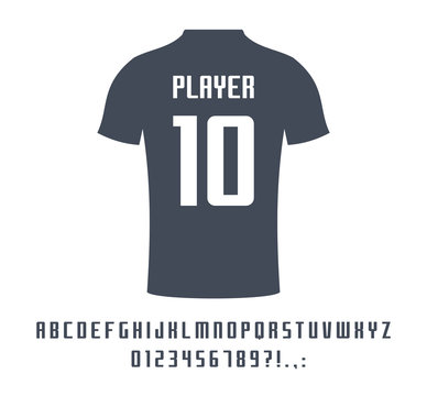 Sport universal font for soccer, football, baseball or basketball team logo, t-shirt. Athletic player name typeface. Geometric typography style, vector alphabet. Letters, numbers for equipment design.