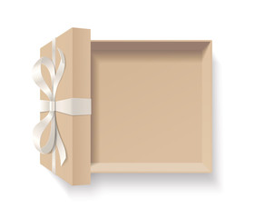 Empty open kraft gift box with silver color bow knot, ribbon isolated on white background. Happy birthday, Christmas, New Year, Wedding, Valentine Day package concept. Vector illustration 3d top view