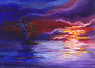 Fantasy landscape acrylic painting.  Sunset on water whith island, tree. Dark landscape art. Purple, yellow and red colors water landscape. Dark sky sunset clouds. Card, print, design element.