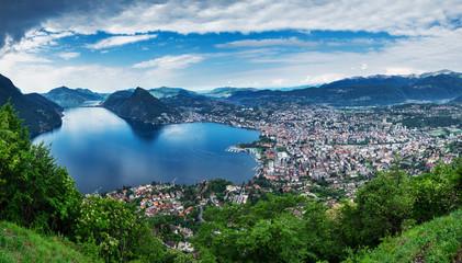 Lugano, Switzerland, May 12, 2018. Panoramic sight from Monte Brè Mountain.