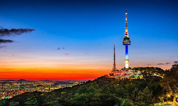 twilight sky at namsan tower Seoul south korea