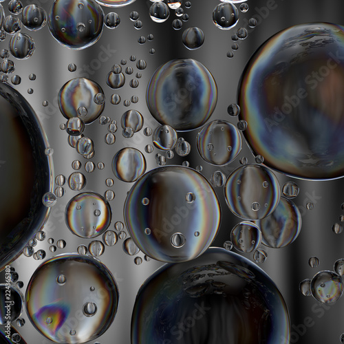 3d render abstract background with glass bubbles  Clear beautiful