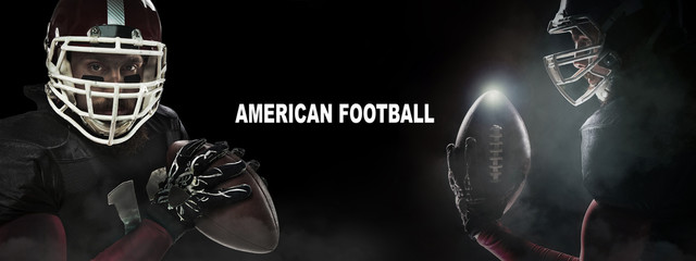 Sport concept. American football sportsman player in profile and front on black background with copy space. Sport concept.