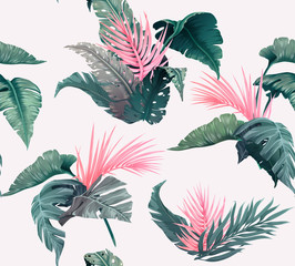 Bright tropical seamless pattern with jungle plants. Exotic background with palm leaves. Vector