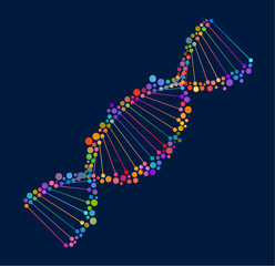 Abstraction of DNA, double helix consisting of colorful dots, eps10 vector