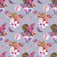 Seamless pattern with watercolor feathers, roses, cotton flowers, berries and lotus boxes, hand painted on a blue background