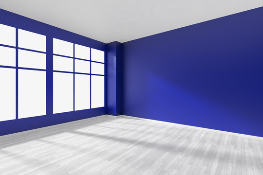 Empty blue room with window and white floor