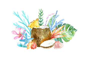 Cocktail in coconut.Plumeria flowers,monstera,shell, coral, starfish and floral.Tropical fruit sketch.Watercolor hand drawn illustration.White background.