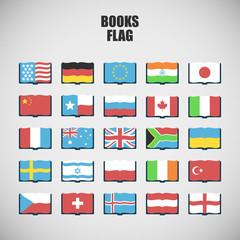 set of twenty five International Language Book Icons