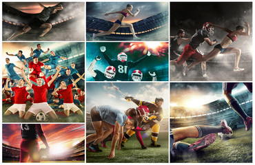 Irresistible in attack. Multi sports collage about soccer, American football players and fit running woman and man. Conceptual photo with running athletes in motion or movement at stadium with sand