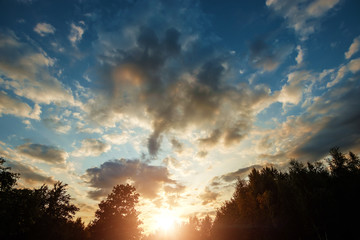 Fantastic, beautiful clouds at sunrise with dramatic light. Situation in the sky in the morning. Sunrise, landscape. copy space