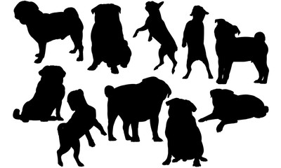 Pug Dog svg files cricut,  silhouette clip art, Vector illustration eps, Black Dog  overlay