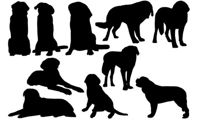 Saint Bernard Dog svg files cricut,  silhouette clip art, Vector illustration eps, Black Dog  overlay