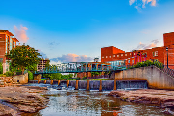 Sunrise over RiverPlace in Greenville, South Carolina, USA Wall mural