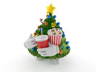 Christmas tree character holding popcorn and soda