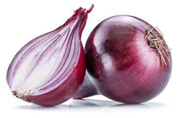 Red onion bulb and cross section on the white background.