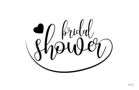 bridal shower typography text with love heart