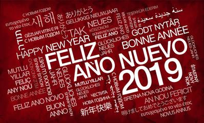 Feliz Año Nuevo 2019 internacional texto traducción nube de etiquetas