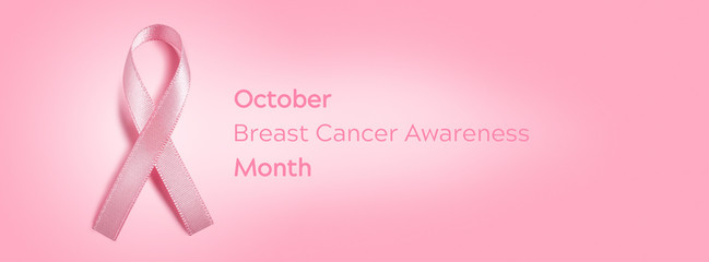 October Breast Cancer Awareness Month Banner With Pink Ribbon