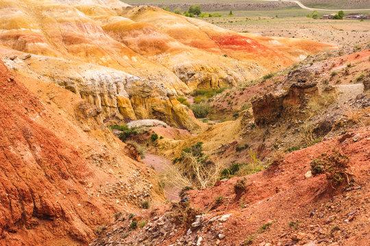 Unique Mars red colorful landscape. Chagan-Uzun Altai, Russia