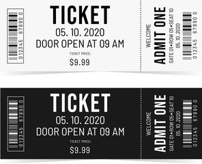 Simple tickets. Black and White