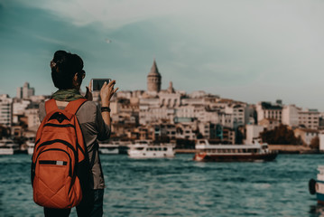 tourist takes pictures in istanbul