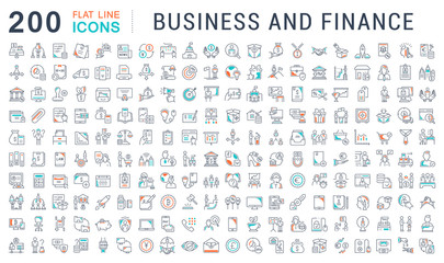 Set Vector Line Icons of Business and Finance.