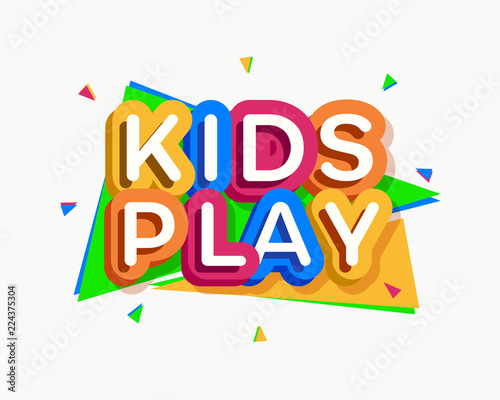 Vector Kids Play Logo Cartoon Colorful Style For Game Zone Shop